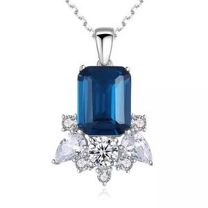 Stylish Sapphire Sterling Silver Necklace